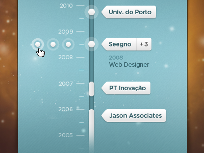 Jobs Timeline (WIP) - v2 job timeline space dates blue year list talent city jobs card years