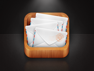 Mail App Icon  mail email icon ios app envelope wood box perspective 3d photoshop