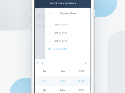 Mobile Transactions Filter simple clean hire transaction fintech payments iphone ios mobile