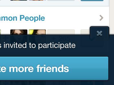 Close Action Bar close minimize action bar friends blue list avatars people invite