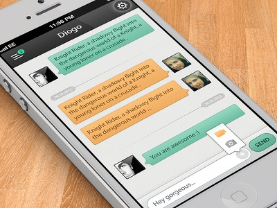 Chat IOS App chat conversation daniela diogo alves input button yellow green popup popover settings menu notification notifications title time instant messenger messaging awesome gorgeous ios iphone white wood black