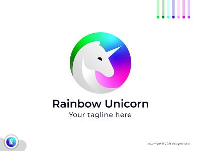Rainbow Unicorn Logo symbol icon logo mark logomaker logodesign logo minimalist logo brand branding logo designer vector logo trends 2021 logotype typography icon creative logo abstract logo modern logo unicorn logo rainbow