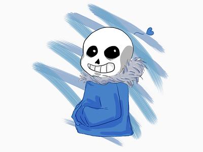 Illustration - Happy Sans smiling smile corazón heart esqueleto skeleton undertale alegre contento feliz happy sans