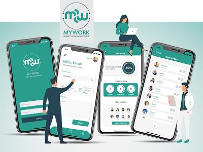 MYWORK App adobe xd app design ux ui design