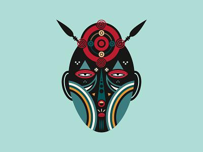 Aztec Warrior geometric illustration geometric art illustrator art spirit tiki ceremonial mask zulu traditional spiritual skull hawaiian shirt ancient egypt tribal african ancient samurai warrior aztec