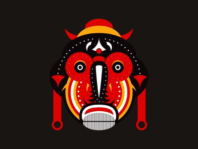 Baluba Mask tee designbyhumans tshirt tshirt art tshirt design tribe mask creative geometric illustration ritual warrior hawaiian traditional aztec ceremonial tiki tribal spiritual zulu lubalin baluba mask