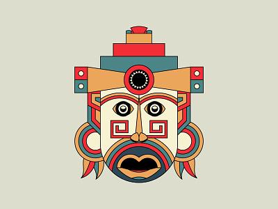 Aztec Mayan Mask tshirt designbyhumans tattoo art sacred geometry geometric illustration abstract warrior mexico ancient ritual ceremonial mayan hawaiian tribal zulu tiki traditional spiritual aztec