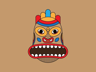 Hawaiian Tiki Mask fashion t-shirt design t-shirt illustration designbyhumans tattoo colorful art ancient cartoon totem pole illustration ritual geometric zulu tribal tiki aztec traditional spiritual brown hawaiian tiki