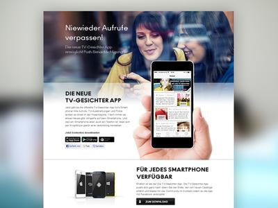 Landingpage TV-Gesichter App