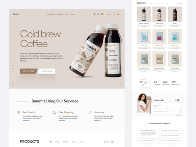 Shopify website landing page for hatch Coffee shop design ecommerce woocommerce store store ui shopify store shopify