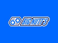 Big Nutt's icon logo branding bolts hex nuts hexagon big blue nascar nut car
