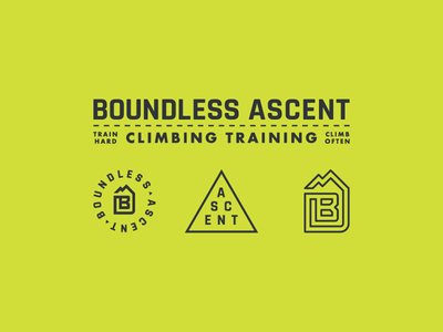 Boundless Ascent rock climbing mountain mark logo line letter identity icon grid climb branding boulder