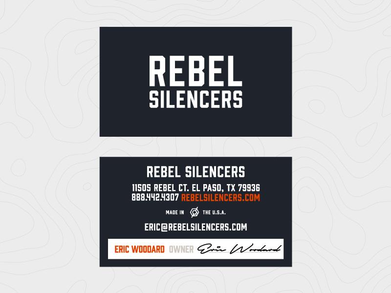 Rebel Silencers Business Cards business cards texas silencer mark logo gun stationery design print identity branding