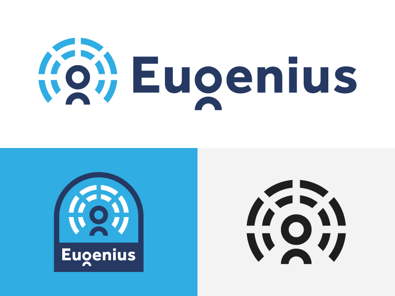 Eugenius branding icon identity user line logo logomark mark round person radiate