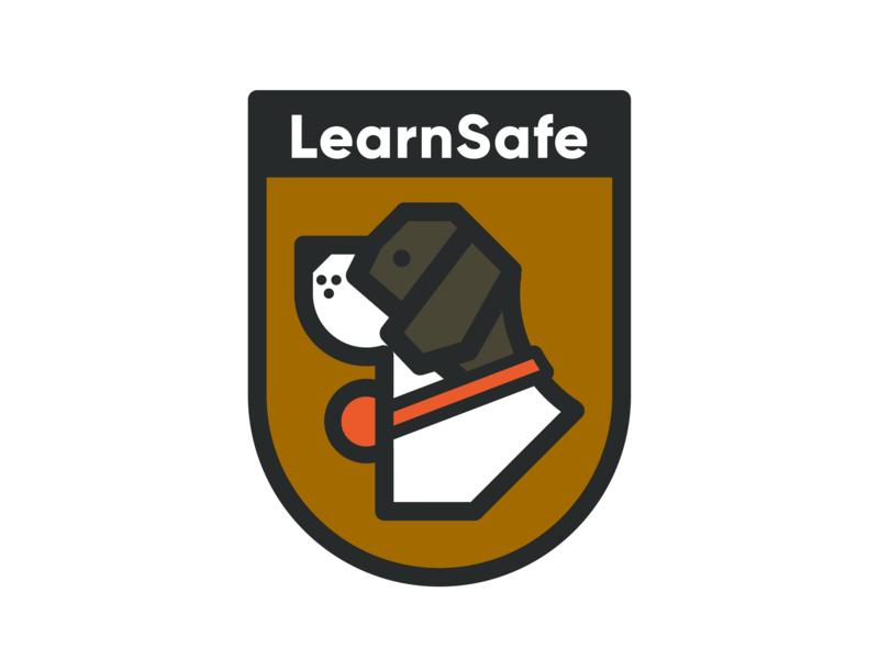 LearnSafe dog illustration dogs puppy icon identity mark shield badge bernard st bernard dog birmingham alabama branding logo