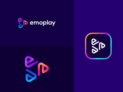 E Play Button Logo design delivery creative concept company colorful cinema business background audio arrow app alphabet abstract start play logo letter button e
