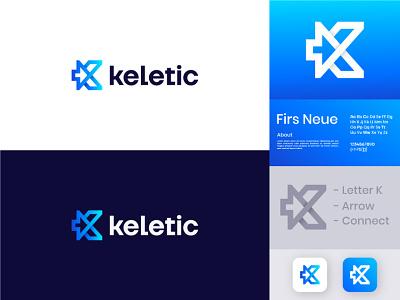 Keletic - Modern Logo Design ui ux icon illustration flat design illustrator vector logo branding arrow t h e q u i c k b r o w n f o x a b c d e f g h i j k l m n o p q r s t u v w x y z creative logo logo design brand modern logo connect