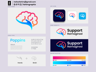 Support Reimagined branding science visual identity cryptocurrency ecommerce marketing agency tech technology think idea artificial intelligence logo maker logo designer brain hand gradient app icon design logo logo design modern logo