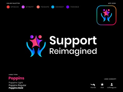 Support Reimagined - modern logo hand support logo icon professional logo flat logo logo designer abstract logo business logo unique logo creative logo minimalist logo design branding brand logo modern logo logo design