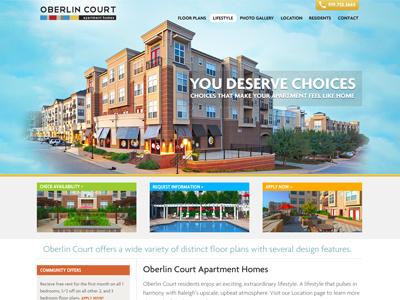 Oberlin Court Homepage homepage web design blue orange green website