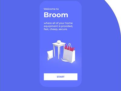 broom 3d art 3d logo userinterface adobexd ui design ui