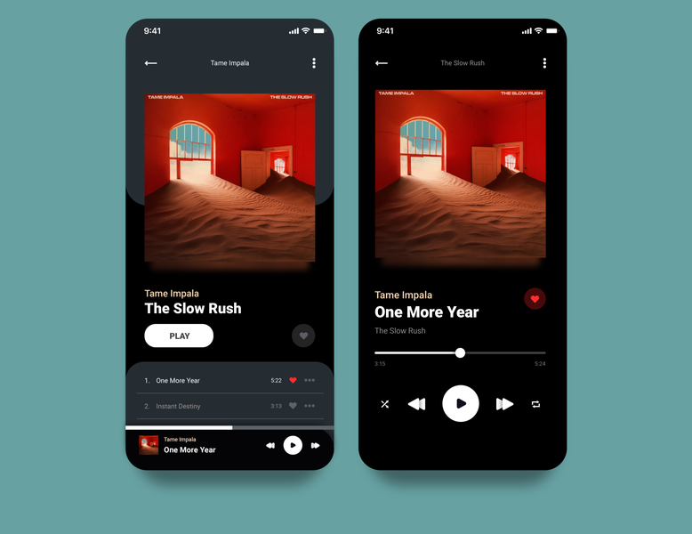 Music Player // 009 Daily UI tame impala music player music app music dailyui userinterface adobexd ui design ui
