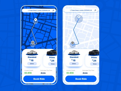Doober uber design blue carservice car uber userinterface adobexd ui design ui