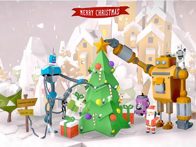 Julfrukost low poly 3d art 3d snow sketchfab graphic sweden christmas robot google blocks