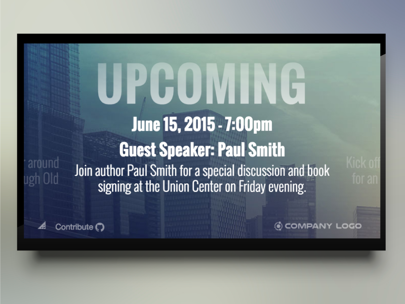 Events Template events display communication digital signage announcements