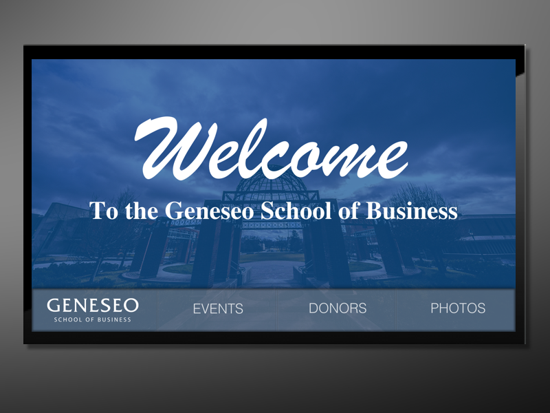 Geneseo School of Business Interactive Donor Wall events touch screen list interactive scrolling directory business school donors digital signage