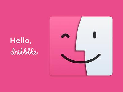 First Shot – Hello, Dribbble macos macintosh happy-mac finder dribbble first-shot mac apple design icon