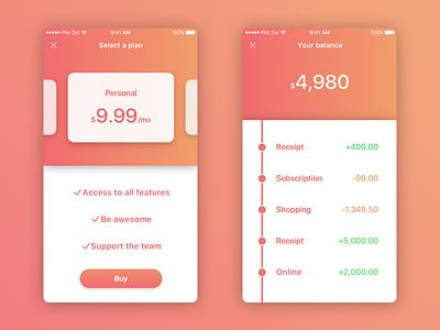 Finance App Concept for iOS gradient iphone color app productivity finance user interface ux ui apple ios 11 ios