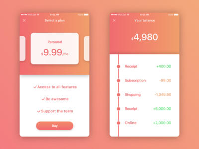 Finance App Concept for iOS gradient iphone color app productivity finance user interface ux ui apple ios 11 ios
