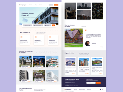 Real Estate Landing page ui design real estate ui design landing page