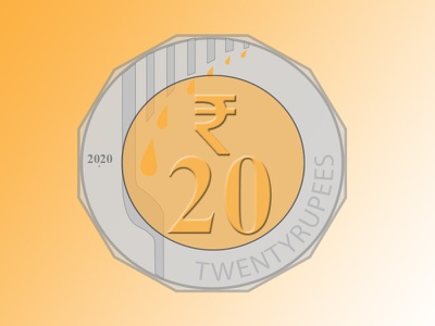 20 Rupee Indian Coin logo typography illustration design