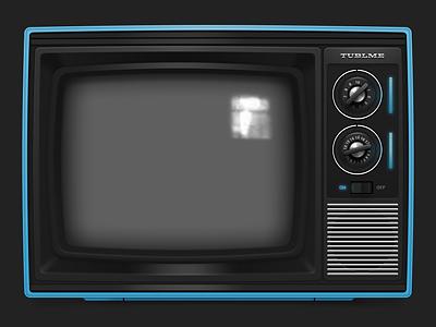 Tublme television icon television tv tube blue dark