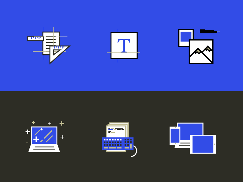 Personal website icons devices icons responsive keyboard computer pen photo picture typography guide paper ruler