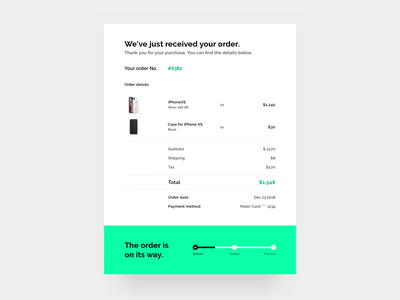 Email Receipt - Daily UI #017 iphone green black  white black order confirmation order receipts receipt email banner confirmation email confirmation email receipt email 017 dailyui