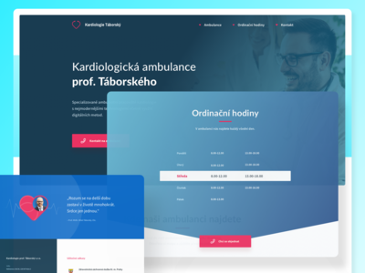 Kardiologie Táborský Website layout button red icons opening hours opening times opening shadow gradient blue heartbeat heart phonendoscope cardiology cardio uidesign homepage webdesign website web