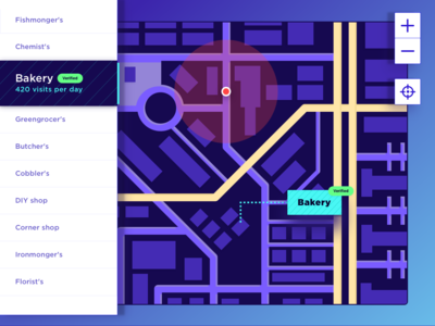 Map - Daily UI #029 navigation menu location pin app concept purple place tag bakery road color flat business local position location app location app map 029 dailyui
