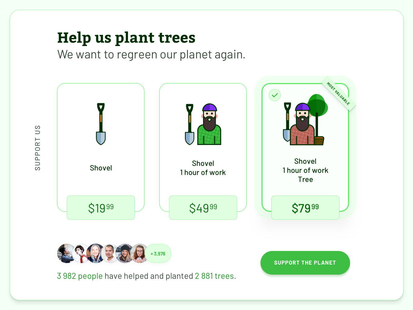 Crowdfunding Campaign - Daily UI #032 avatars pricing selected options choices radio button cards button green planting plant worker shovel tree campaing crowd funding crowdfunding crowdfund 032 dailyui