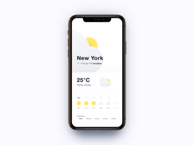 Weather - Daily UI #037 mobile app white contrast edit icon edit weather icon icon location cloudy sunny forecast yellow grey gray cloud sun app weather 037 dailyui