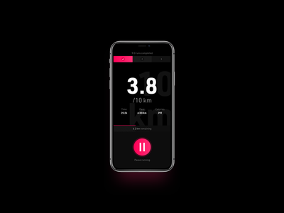 Workout Tracker - Daily UI #041 steps typography button shadow progress time duration red pink white black ui running run tracker workout sport app 041 dailyui