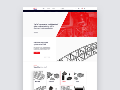 Truss Aluminium Factory E-commerce button above the fold hero navbar icon title form table products product cards card red gray swiss webdesign website eshop eccomerce truss