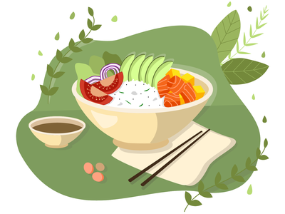 Asian Poke Bowl asia meal bowl vector art poke food illustrator vector illustration vector design illustration art illustration