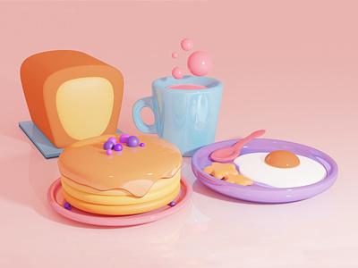 Just a cute breakfast scene. 3d art 3d illustrator illustration design artwork artist art