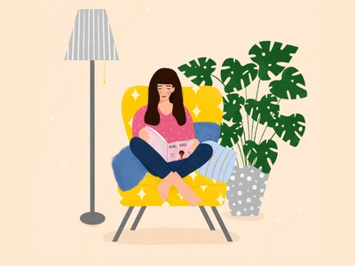 Cosy at home at home woman illustration plants procreate digitalillustration digitalart mindfulness illustration editorial editorial illustration