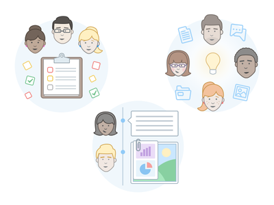 Flow Illustrations illustration icon fun colourful flow people tasks project management team