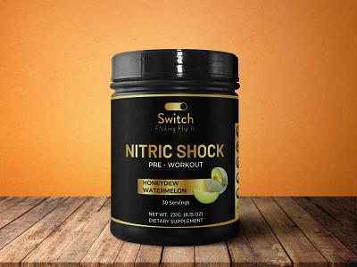 NITRIC SHOCK Pre - Workout Product Label logo design supplement label design packaging design product label design label mockup label design amazon label design adobe illustrator cc