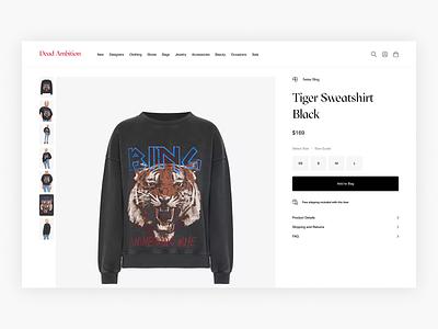 Dead Ambition - Product Details Page Exploration - E-commerce fashion shop commerce web shop webshop fashion shop minimal minimalism e-commerce ecommerce